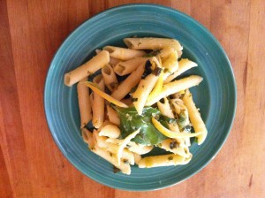 Lemon zest and basil pasta