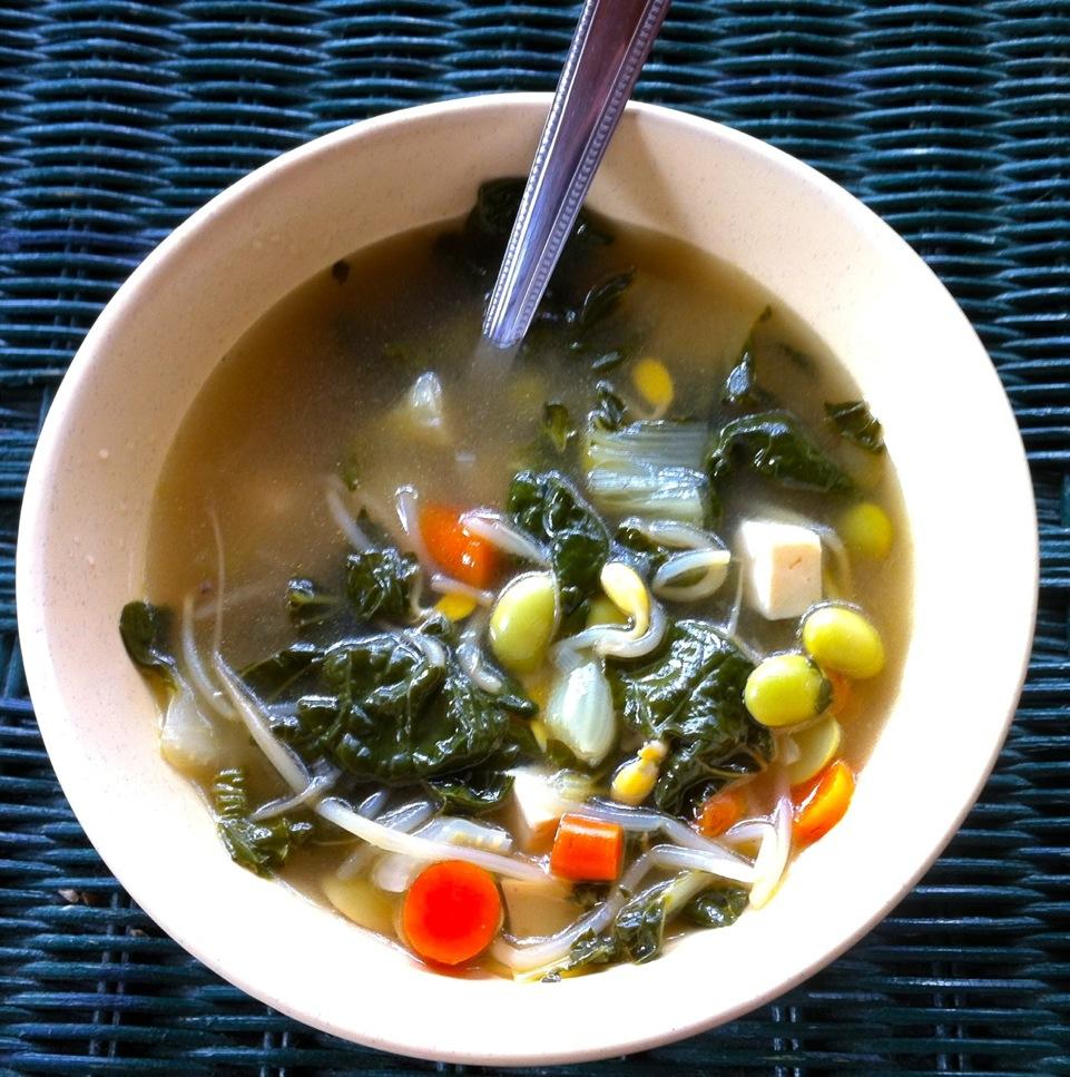 Edamame, bok choy, bean sprout soup | Veggie Challenge